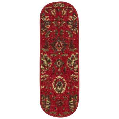 Ottohome Collection Traditional Floral Design Red 9 in. x 26 in. Rubber Back Oval Stair Treads (Set of 7)
