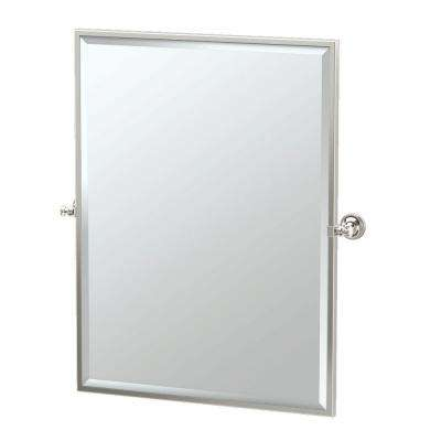 Tavern 28 in. x 33 in. Framed Single Large Rectangle Mirror in Polished Nickel