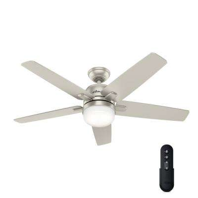 Cavera II 52 in. Indoor Matte Nickel Wifi-Enabled Smart Ceiling Fan with Light Kit & Remote
