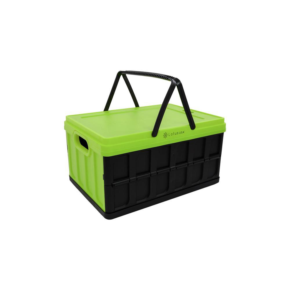 Foldable 33 Qt. Hardside Basket Storage Crate in Green/Black