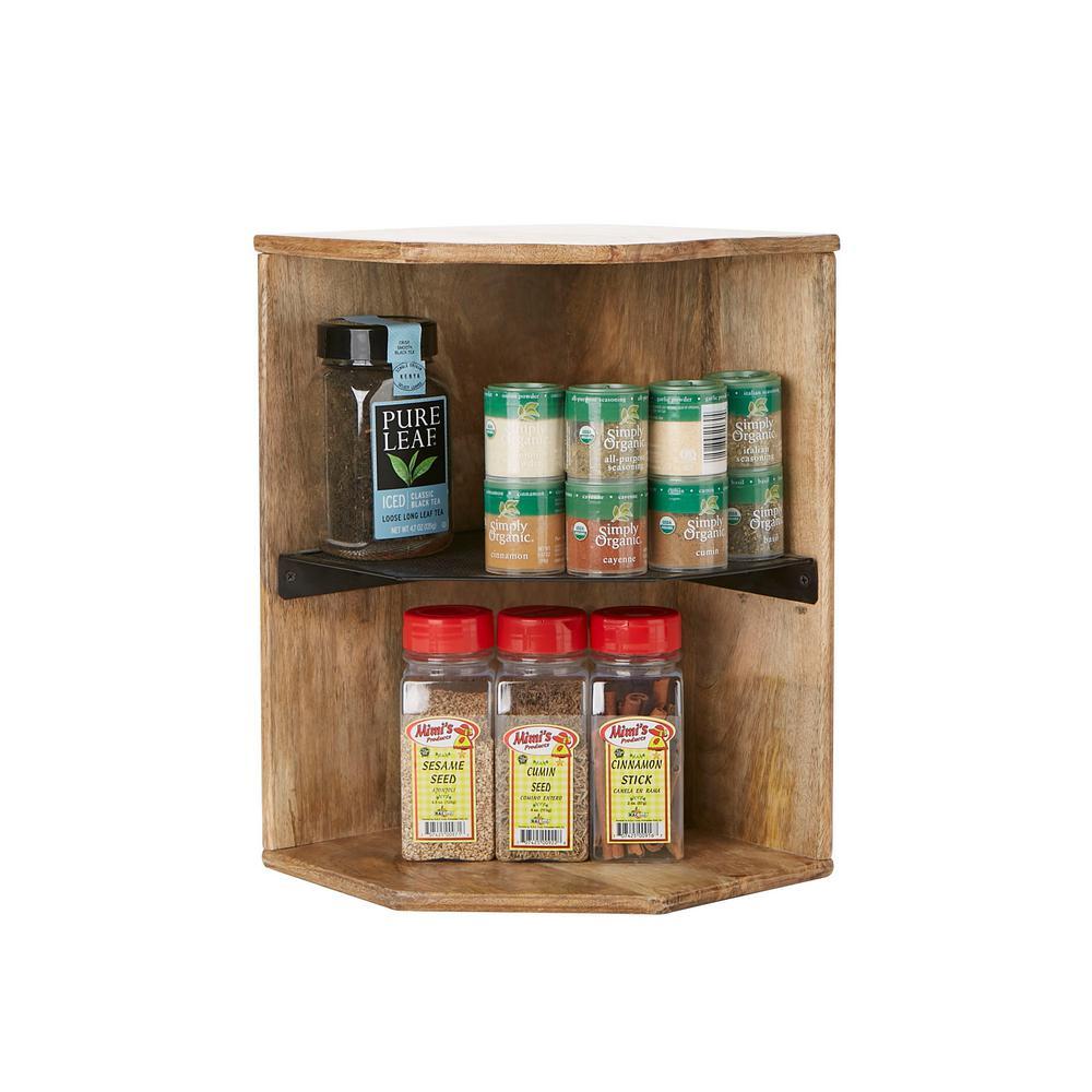 Mind Reader 2-Tier Brown Wood Iron Corner Shelf, Kitchen ...