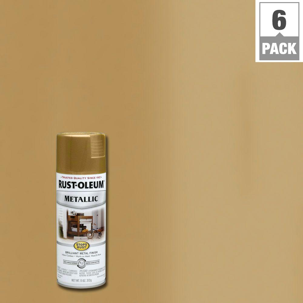 11 oz. Burnished Brass Protective Enamel Metallic Spray Paint (6-Pack)