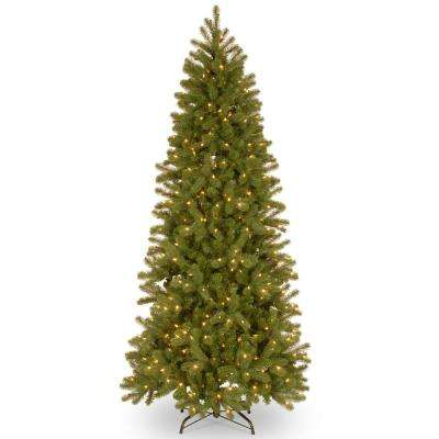 7 ft. Feel Real Downswept Douglas Fir Pencil Slim Hinged Tree with 300 Dual Color LED Lights