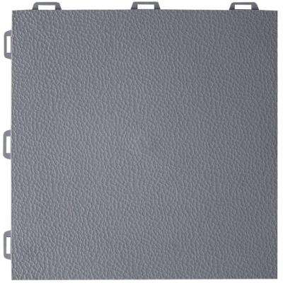 StayLock Orange Peel Top Gray 12 in. x 12 in. x 0.56 in. PVC Plastic Interlocking Basement Floor Tile (Case of 26)