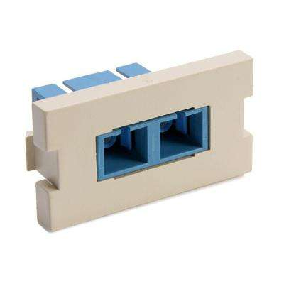 Duplex SC Fiber Adapter Zirconi Amp Ceramic Sleeve 1-Unit High Multimedi Amp Outlet System Module, Ivory