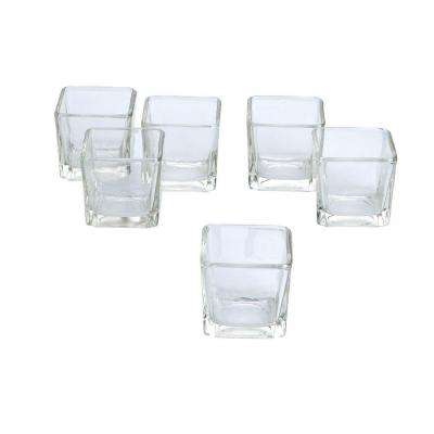 Clear Glass Square Votive Candle Holders (Set of 12)