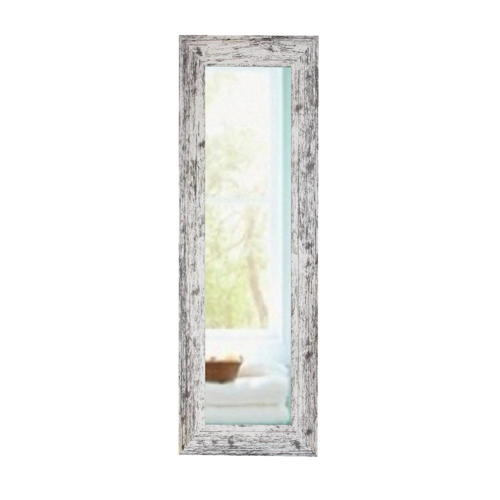 39 5 In X 15 5 In Weathered White Farmhouse Panel Mirror