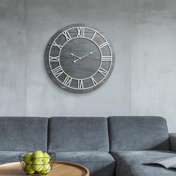 Wood Plank Frameless Washed Gray Wall Clock