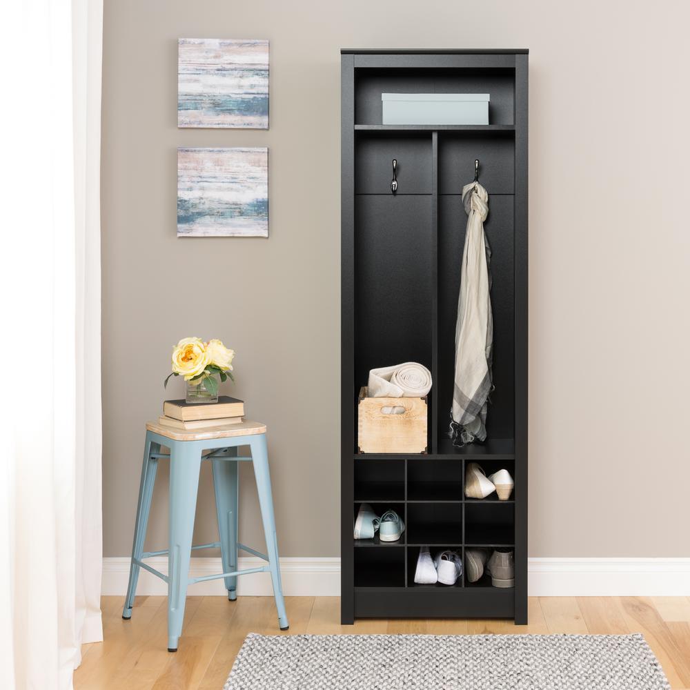 Entryway Deep Black Laminate Hall Tree Space-Saving Organizer with Shoe Storage
