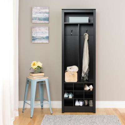 Entryway Deep Black Laminate Hall Tree Space-Saving Organizer with Shoe Storage