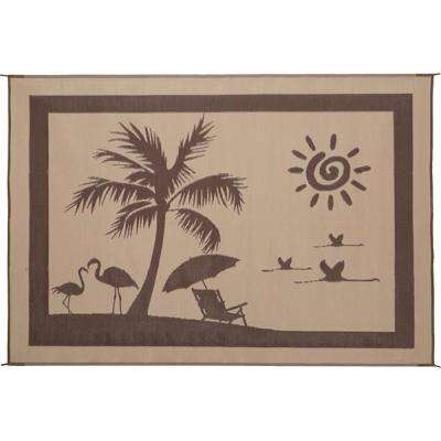 8 ft. x 11 ft. Brown and Beige Beach Paradise Mat