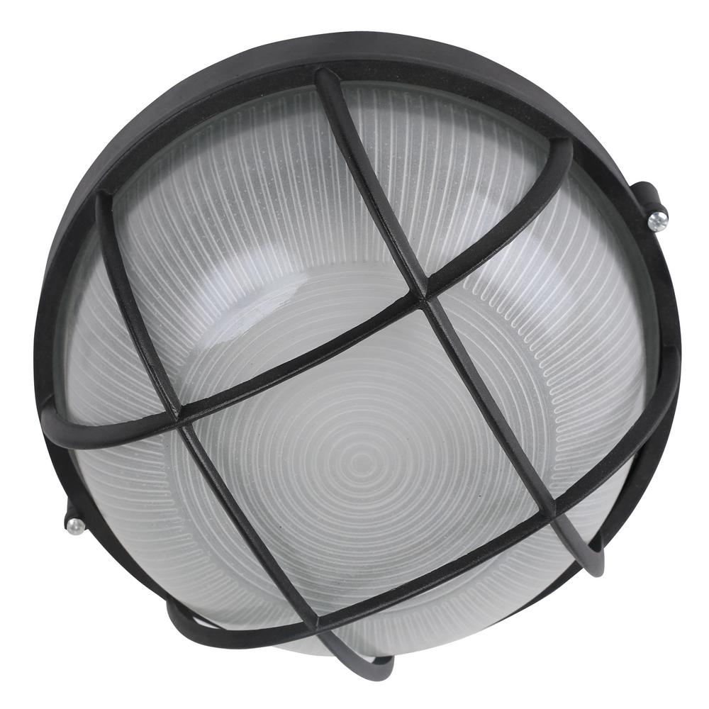1-Light Integrated LED Flush Mount Ceiling Light in Black ...