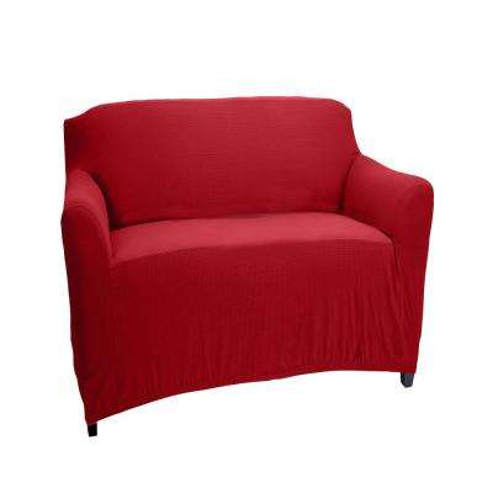 96.5 in. x 23.6 in. x 27.5 in. Pixel Burgundy Stretch Chair Slip Cover