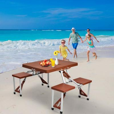 Aluminum Outdoor Picnic Foldable Table with Bench Seats