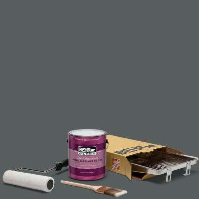 1 gal. #N500-6 Graphic Charcoal Ultra Eggshell Enamel Interior Paint and 5-Piece Wooster Set All-in-One Project Kit
