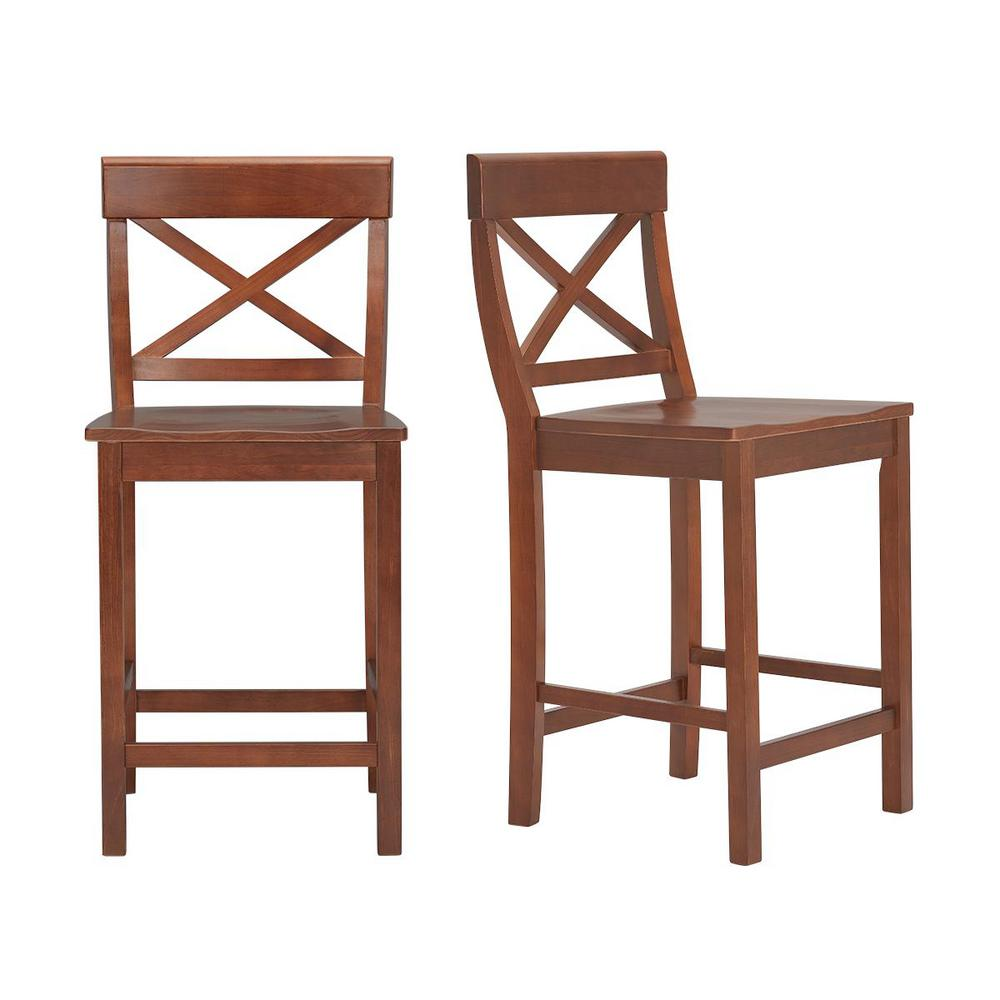 StyleWell Cedarville Walnut Finish Counter Stool with Cross Back (Set of 2) (19.42 in. W x 38.22 in. H), Brown was $169.0 now $101.4 (40.0% off)