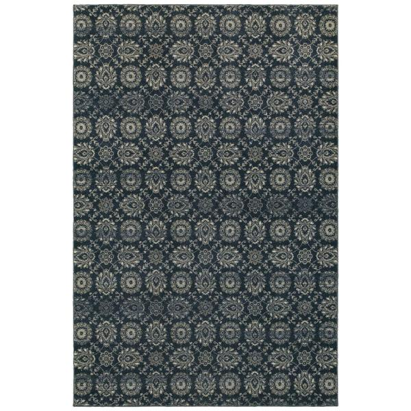 Rydal Grey Navy 5 Ft X 8 Ft Abstract Area Rug 994910 The Home Depot