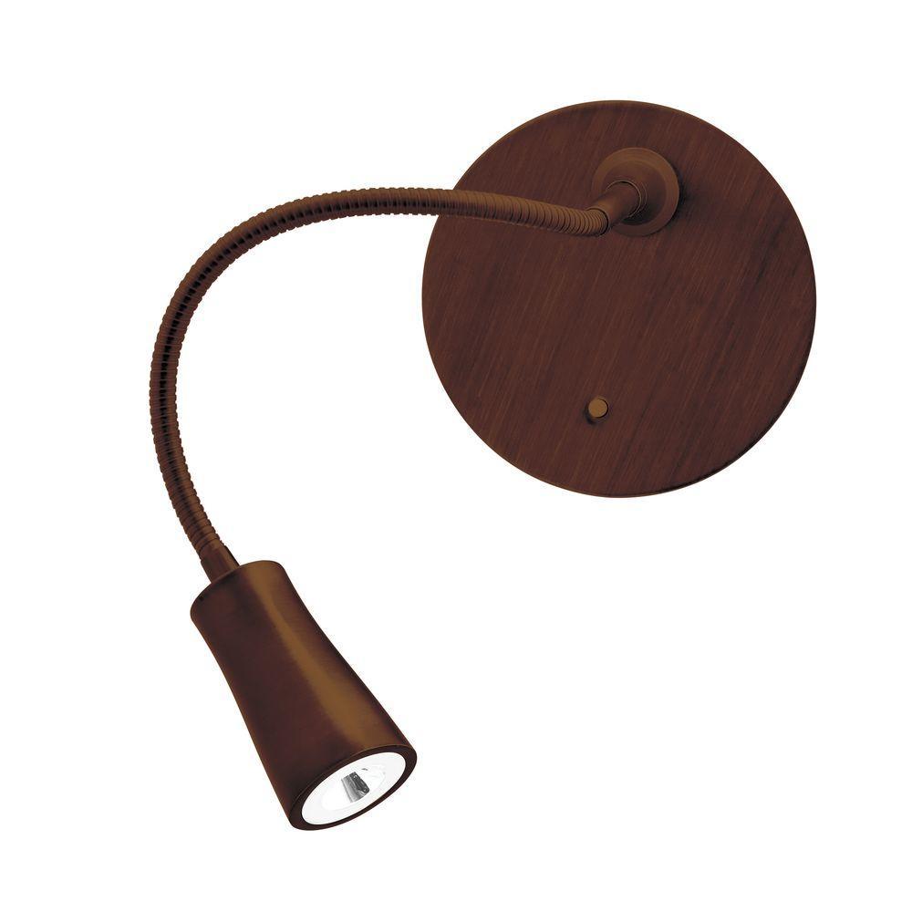 Epiphanie 16 in. 1-Light Bronze Gooseneck Wall Lamp