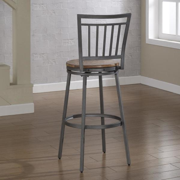 American Woodcrafters Filmore 25 In Grey Swivel Counter Stool B1 101 25w The Home Depot