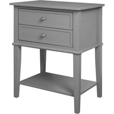 Queensbury Gray Accent Table with 2-Drawers
