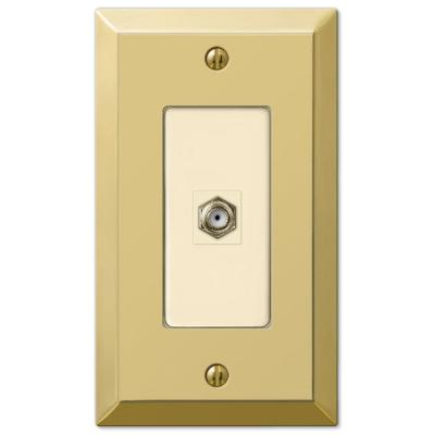 Metallic 1 Gang Coax Steel Wall Plate - Polished Brass