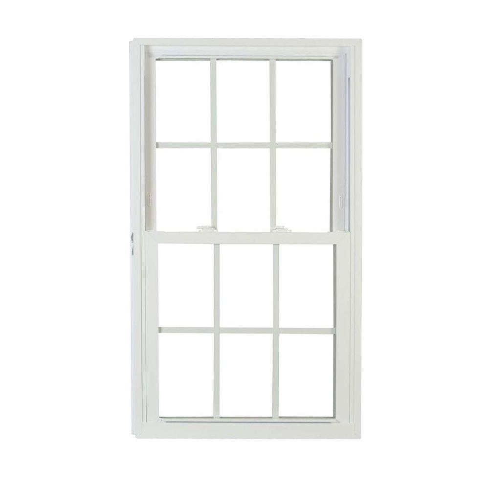 American Craftsman 57.75 in. x 23.25 in. 70 Series Pro Double Hung Buck White Vinyl Window with Grilles