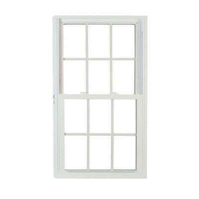 27.75 in. x 53.25 in. 70 Series Pro Double Hung White Vinyl Window with Buck Frame and Grilles