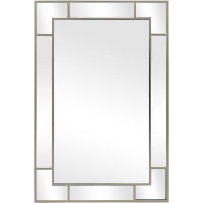 Medium Rectangle Champagne Classic Mirror with Keyhole Hooks (36 in. H x 24 in. W)