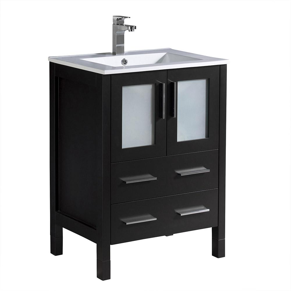Charming Torino 24 In. Bath Vanity In Espresso With Ceramic Vanity Top