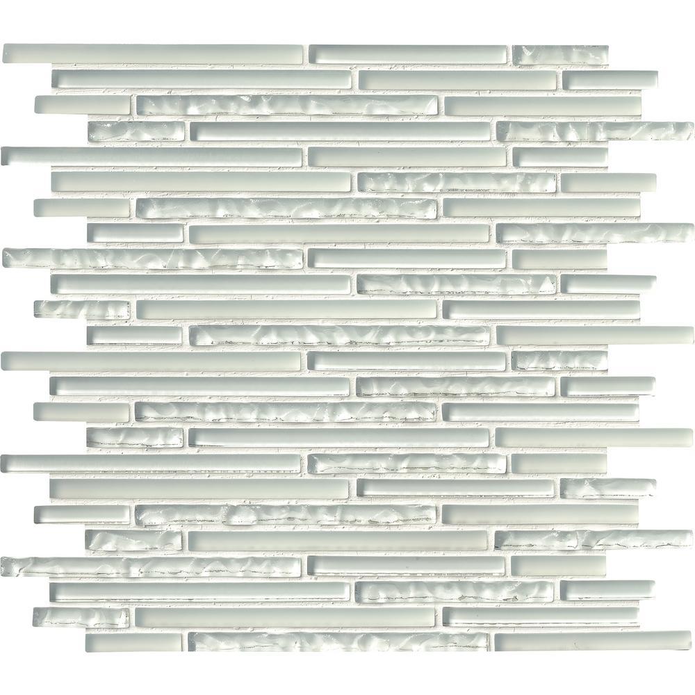 MSI Ice Floe Blend Interlocking 12 in. x 12 in. x 8 mm Glass Mosaic ...