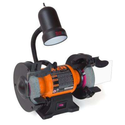 2 1 Amp 6 in  Bench Grinder with Flexible Work Light