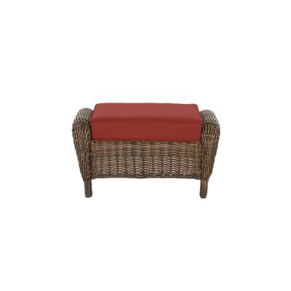 Cambridge Brown Wicker Outdoor Patio Ottoman with Sunbrella Henna Red Cushions