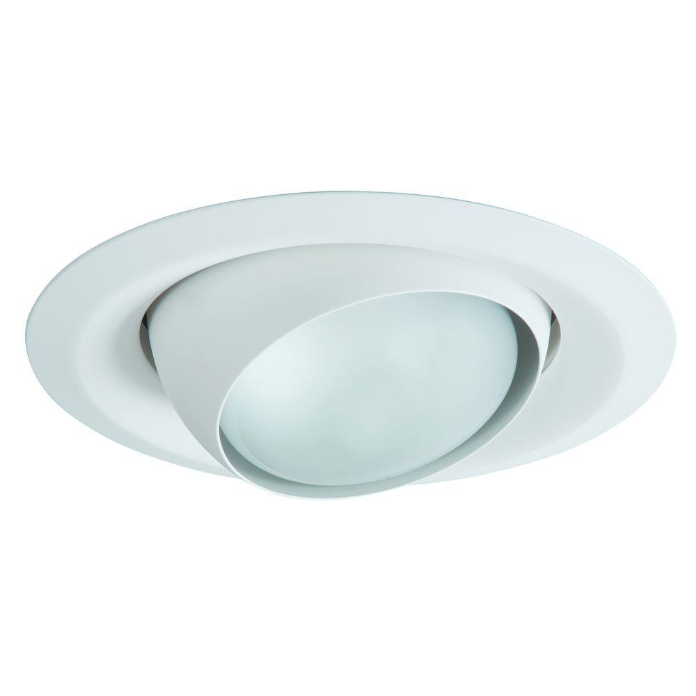 E26 Series 6 In White Recessed Ceiling Light Fixture Trim With Adjule Eyeball