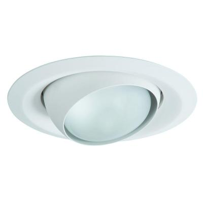 E26 Series 6 in. White Recessed Ceiling Light Fixture Trim with Adjustable Eyeball