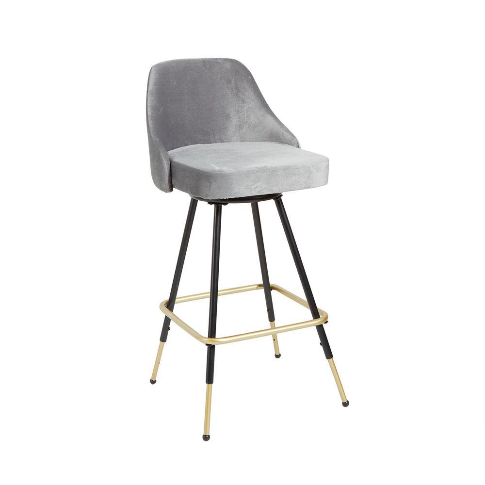 Miraculous Victor Mid Century 24 In Adjustable Height Gray Velvet Swivel Bar Stool Cjindustries Chair Design For Home Cjindustriesco