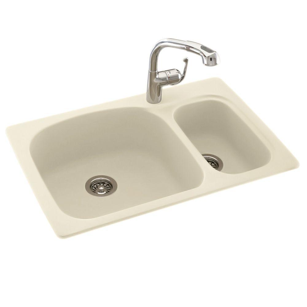 Kitchen Double Sinks Swan drop inundermount composite 33 in 1 hole 7030 double bowl store so sku 1000678159 workwithnaturefo