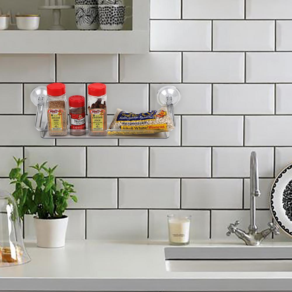 Mind Reader Clear Acrylic Storage Suction Shelf Spice Rack by Mind Reader