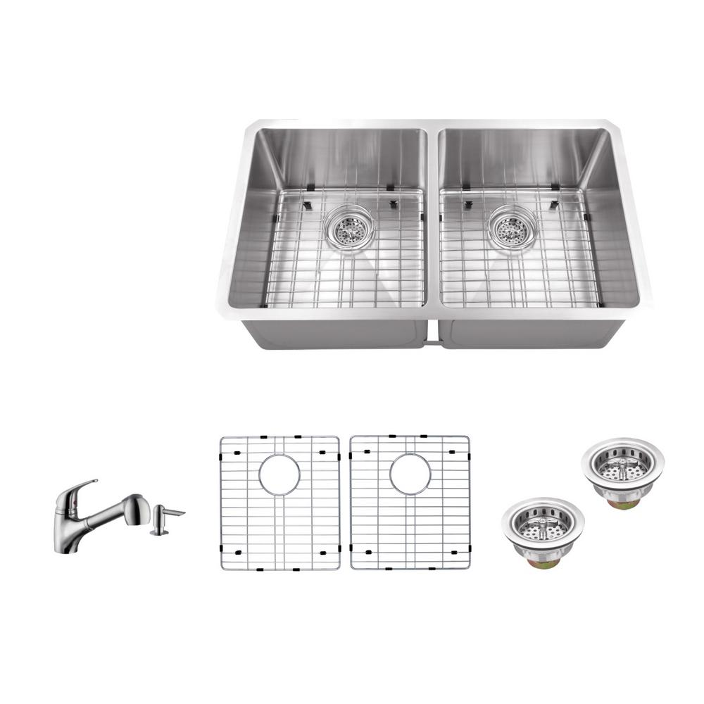 16 Gauge Stainless Steel Kitchen Sink In Brushed With Low Profile Pull Out Faucet