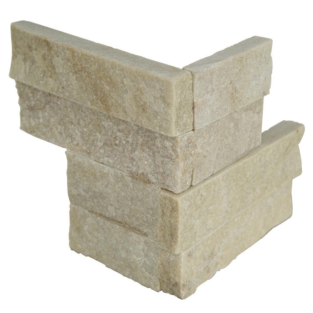 Arctic Golden Ledger Corner 6 in. x 6 in. Natural Marble Wall Tile (2 sq. ft. / case)