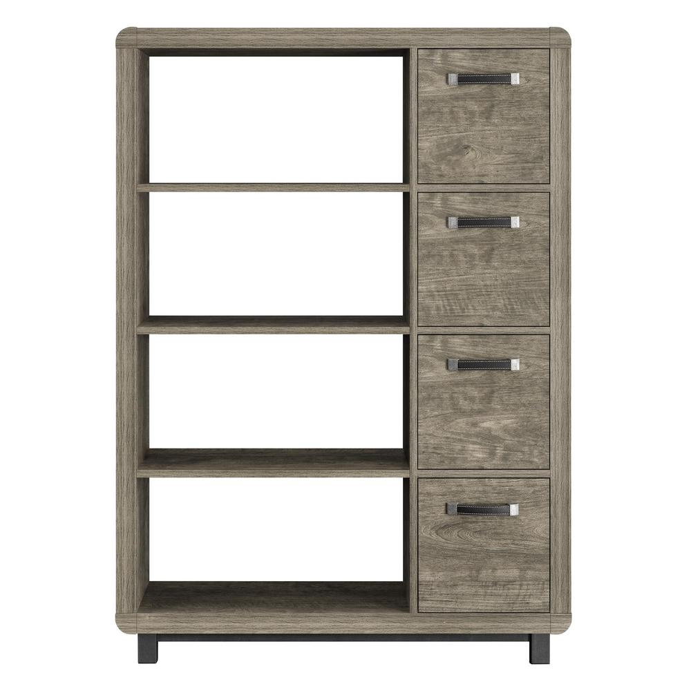 Ameriwood St. Charles Brown Bookcase with Bins
