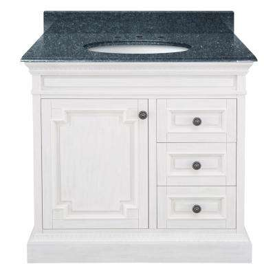 Cailla 37 in. W x 22 in. D Bath Vanity in White with Granite Vanity Top in Blue Pearl with White Sink