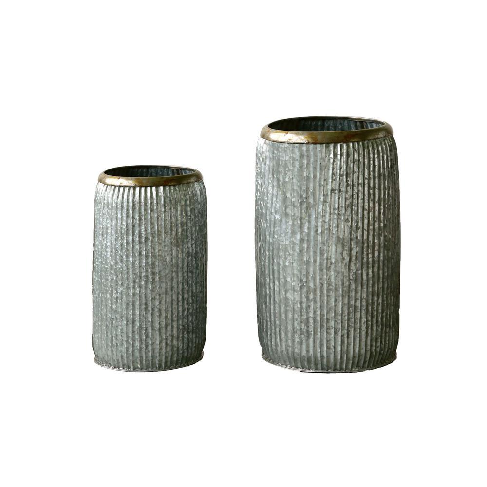 Silver Distressed Metal Decorative Vase (Set of 2)