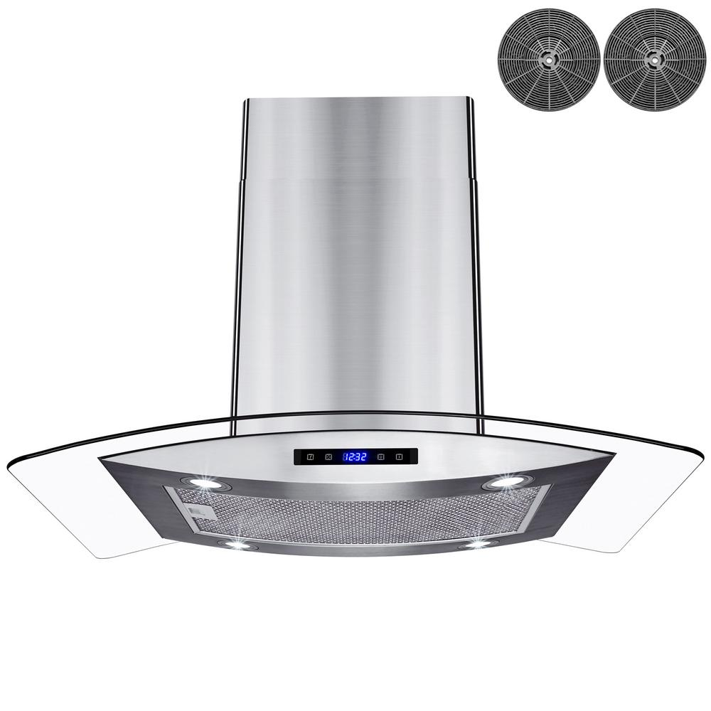 AKDY 30 in. 299 CFM Island Mount Range Hood in Stainless Steel with Tempered Glass, LED lights and Carbon Filters