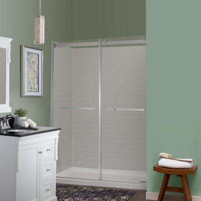 Jetcoat 32 in. x 60 in. x 78 in. 5-Piece Easy-up Adhesive Alcove Shower Surround in Grey Subway Mosaic
