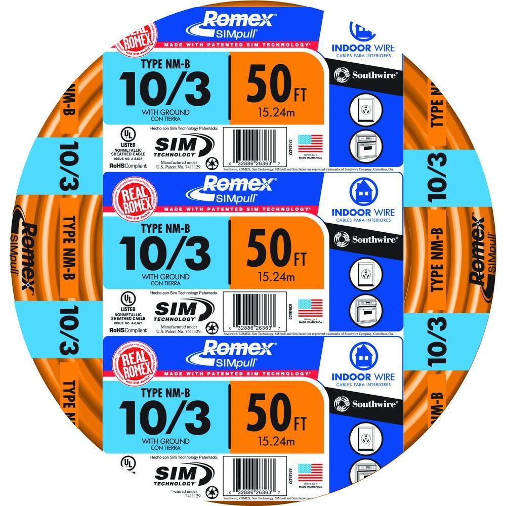 50 ft. 10/3 Solid Romex SIMpull CU NM-B W/G Wire