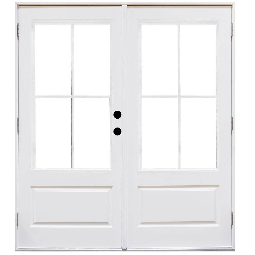 exterior single french doors. 60 In. X 80 Fiberglass Smooth White Left-Hand Outswing Hinged Exterior Single French Doors