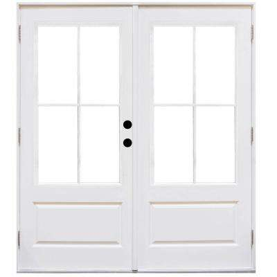 60 in. x 80 in. Fiberglass Smooth White Left-Hand Outswing Hinged 3/4-Lite Patio Door with 4-Lite SDL