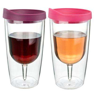 2-Piece Merlot and Pink 10 oz. Double Wall Acrylic Insulated Wine Tumbler Set