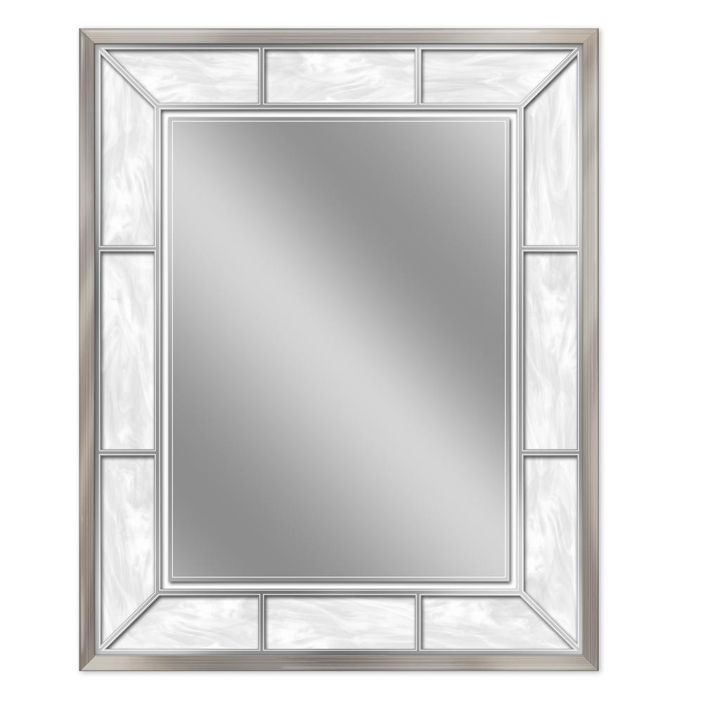 25 in. W x 31 in. H Alabaster Wall Mirror in