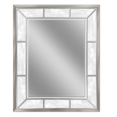 25 in. W x 31 in. H Alabaster Wall Mirror in Brush Nickel